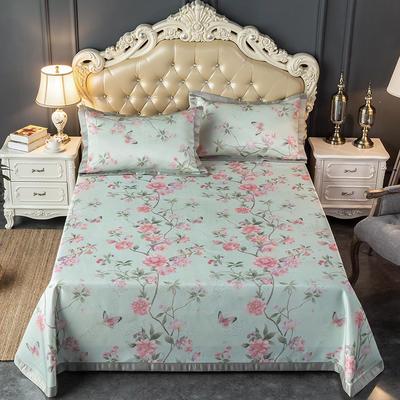 2020新款轻奢床单款冰丝席 1.5m(5英尺)床 花颜-粉绿
