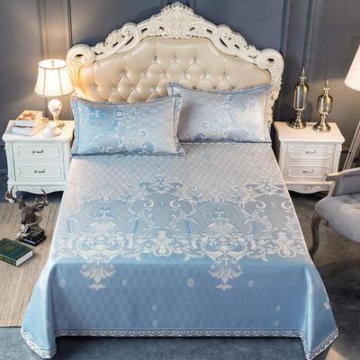 2020新款轻奢床单款冰丝席 1.8m(6英尺)床 罗卡娜-蓝