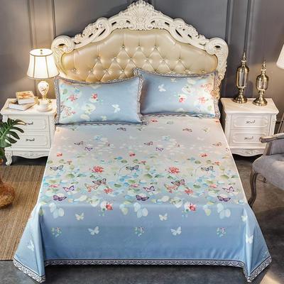 2020新款轻奢床单款冰丝席 1.8m(6英尺)床 轻舞飞扬-蓝