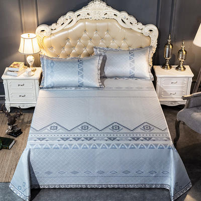 2020新款轻奢床单款冰丝席 1.8m(6英尺)床 情定纳西-灰蓝