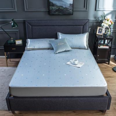 2020新款网布床笠冰丝凉席 1.5m(5英尺)床 爱心-天蓝
