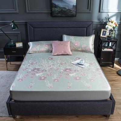 2020新款网布床笠冰丝凉席 1.5m(5英尺)床 诗语-粉绿