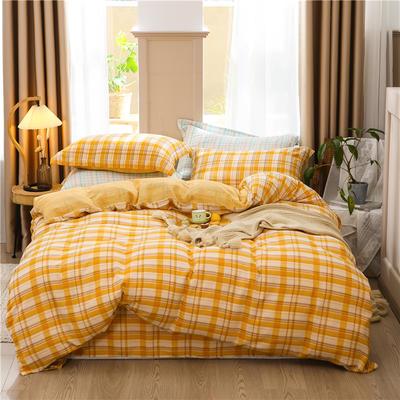 a类双层纱少女心四件套全棉纯棉ins公主风床上用品 0.9m床单款三件套 双黄格调