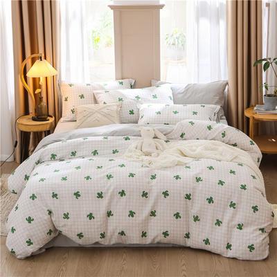 a类双层纱少女心四件套全棉纯棉ins公主风床上用品 0.9m床单款三件套 仙人树