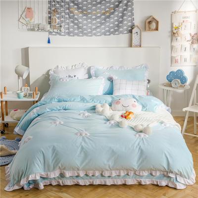 云朵水晶绒四件套 1.2m(4英尺)床(三件套) 荡漾蓝