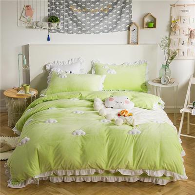 云朵水晶绒四件套 1.2m(4英尺)床(三件套) 青春绿
