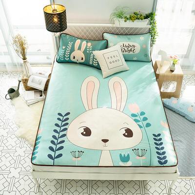 2018新款数码印花冰丝席 1.5m(5英尺)床 快乐萌兔