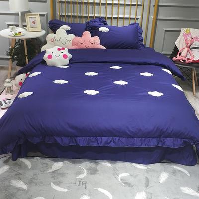 2018新款全棉13372云朵四件套 1.5m(5英尺)床 宝蓝