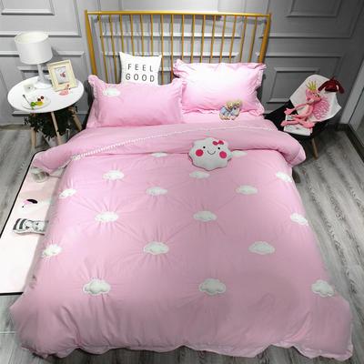 2018新款全棉13372云朵四件套 1.5m(5英尺)床 粉色