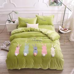2018新款水晶绒毛巾绣四件套-兔兔球球 1.5m(5英尺)床 绿色