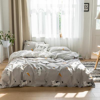 2019新品猫咪系列全棉四件套 1.2m床单款三件套 拉面