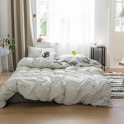 2019新品猫咪系列全棉四件套 1.2m床单款三件套 摩卡