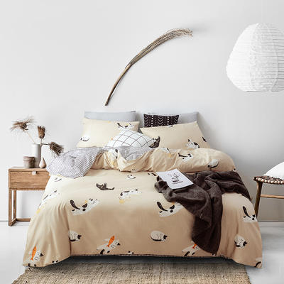 2019新品猫咪系列全棉四件套 1.2m床单款三件套 嬉戏