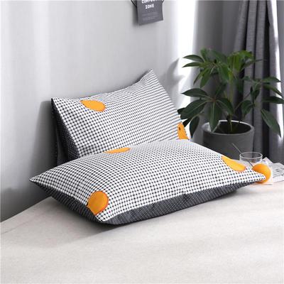 2020新品全棉单品枕套 48cmX74cm/对 格子橙