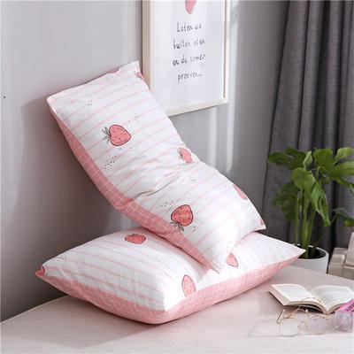 2020新品全棉单品枕套 48cmX74cm/对 日式草莓