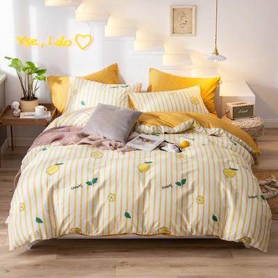 2019新款13372小清新网红全棉四件套 1.2m床单款三件套 柠檬