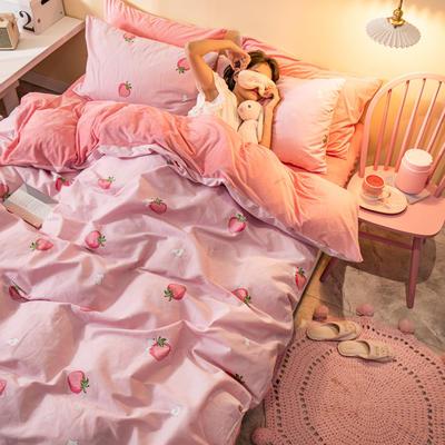 2019新款法莱绒四件套全棉加水晶绒四件套 1.2m(床单款三件套) 草莓猫