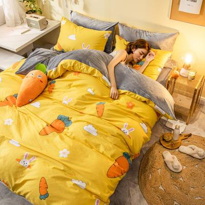 2019新款法莱绒四件套全棉加水晶绒四件套 1.5m(床单款四件套) 大萝卜