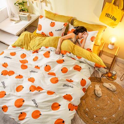 2019新款法莱绒四件套全棉加水晶绒四件套 1.2m(床单款三件套) 橘子
