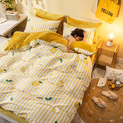 2019新款法莱绒四件套全棉加水晶绒四件套 1.2m(床单款三件套) 柠檬