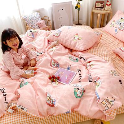 拂微2020新款全棉日式小清新卡通爱情物语系列四件套 1.5m床单款四件套 果汁酸奶