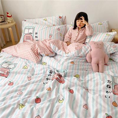 拂微2020新款全棉日式小清新卡通爱情物语系列四件套 1.5m床单款四件套 开心派对