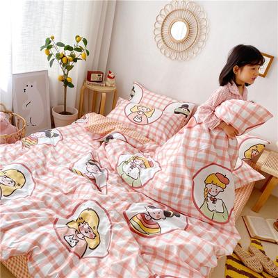 拂微2020新款全棉日式小清新卡通爱情物语系列四件套 1.5m床单款四件套 少女心