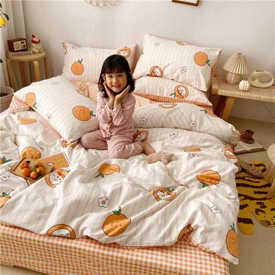 拂微2020新款全棉日式小清新卡通爱情物语系列四件套 1.5m床单款四件套 甜橙宝贝