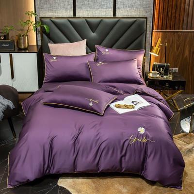 2020新款60长绒棉刺绣小雏菊系列四件套 1.5m床单款四件套 帝王紫