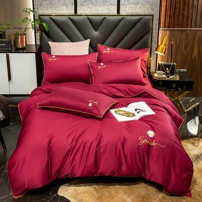 2020新款60长绒棉刺绣小雏菊系列四件套 1.5m床单款四件套 盛世红