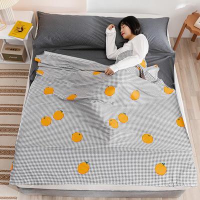 2020新款全棉简约小清新旅行睡袋 格子橙80*230cm