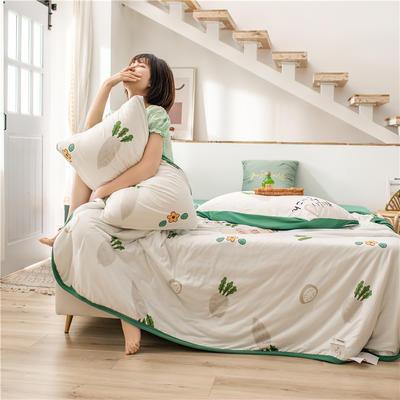2020新款A类针织棉夏被四件套 110x150cm床单款夏被三件套 看见萝卜