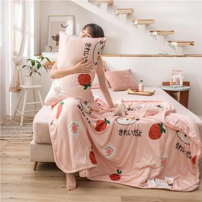 2020新款A类针织棉夏被四件套 200X230cm单夏被 喵的草莓