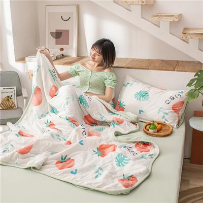 2020新款A类针织棉夏被四件套 180x220cm单夏被 叶绿甜莓