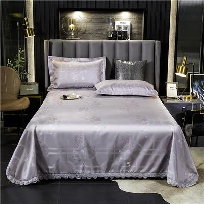 2020新款欧式冰丝床单款花边凉席 250*250cm 花开(紫)