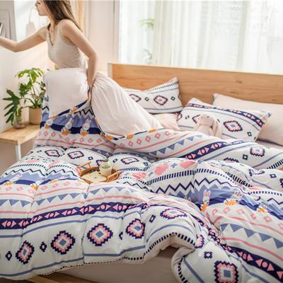 2020新款针织棉四件套 1.5m床单款四件套 波西兔子