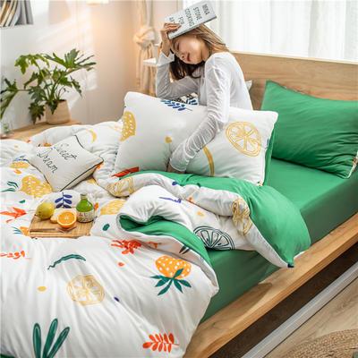 2020新款针织棉四件套 1.5m床单款四件套 香橙