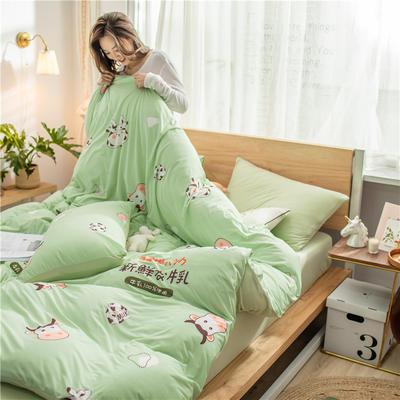 2020新款针织棉四件套 1.5m床单款四件套 新鲜牛乳