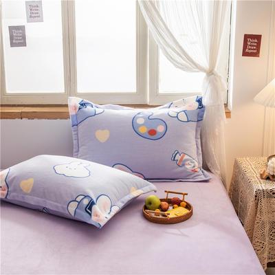 2020新款牛奶绒单品枕套 48cmX74cm/对 大白兔