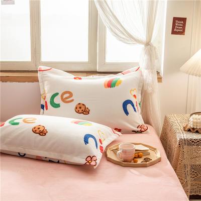 2020新款牛奶绒单品枕套 48cmX74cm/对 奈斯小兔