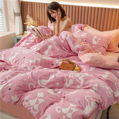 2020新款韩国臻暖绒四件套 1.8m床单款四件套 波斯猫