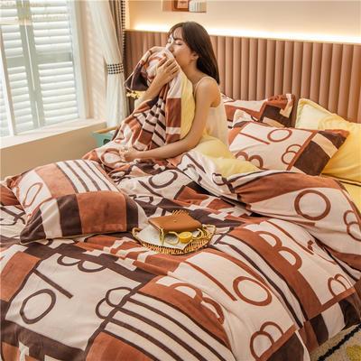2020新款韩国臻暖绒四件套 1.8m床单款四件套 时尚派对