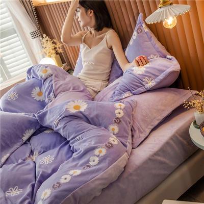 2020新款韩国臻暖绒四件套 1.8m床单款四件套 小紫菊