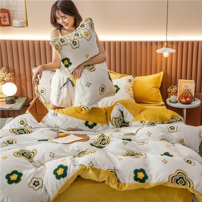 2020新款韩国臻暖绒四件套 1.8m床单款四件套 幸运花