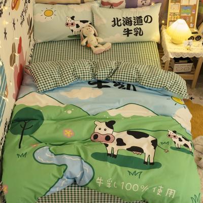 2021新款全棉二次元四件套 1.5m床单款四件套 北海牛乳
