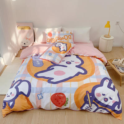 2021新款全棉大版印花四件套(兔兔系列) 1.5m床单款四件套 今日好梦