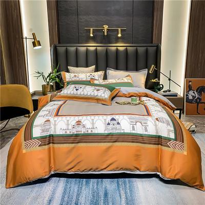 2021新款全棉50s大版数码印花美式轻奢四件套 1.8m(6英尺)床 凡赛尔