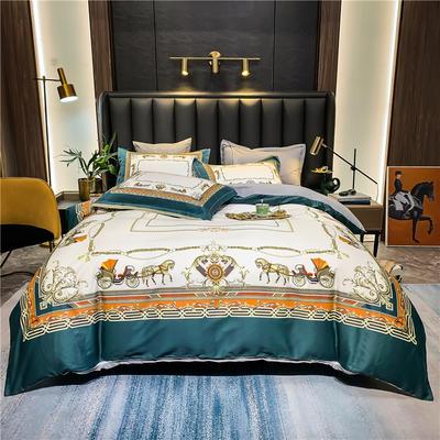 2021新款全棉50s大版数码印花美式轻奢四件套 1.8m(6英尺)床 诺兰蒂(绿)