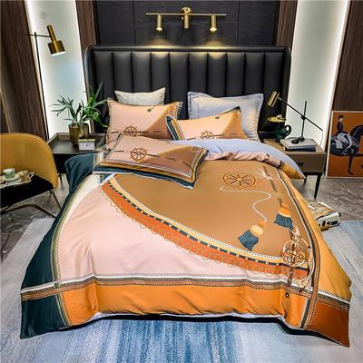 2021新款全棉50s大版数码印花美式轻奢四件套 1.8m(6英尺)床 舒可朵