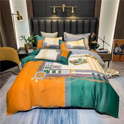2021新款全棉50s大版数码印花美式轻奢四件套 1.8m(6英尺)床 尤克里
